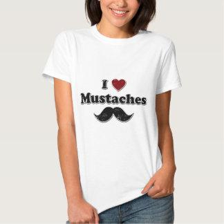 Distressed I Heart Mustaches Design T Shirt