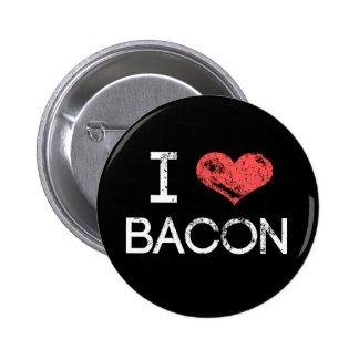 """Distressed """"I Love Bacon"""" Button Pin"""