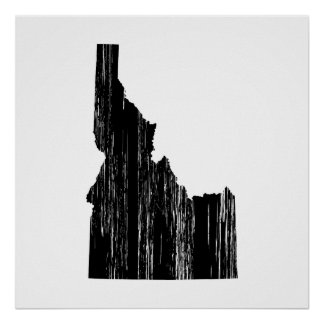 Distressed Idaho State Outline Poster