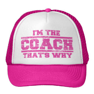 Distressed I'm The Coach That's Why Hat (hot pink)