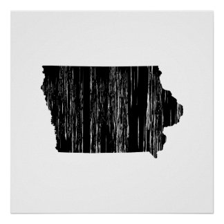 Distressed Iowa State Outline Poster