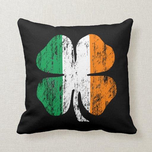 Distressed Irish Flag Shamrock Pillow