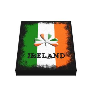 Distressed Irish Flag Tri Colors Themed Shamrock Canvas Print