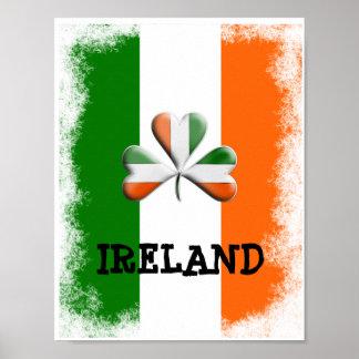 Distressed Irish Flag Tri Colors Themed Shamrock Poster