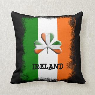Distressed Irish Flag Tri Colors Themed Shamrock Throw Pillow