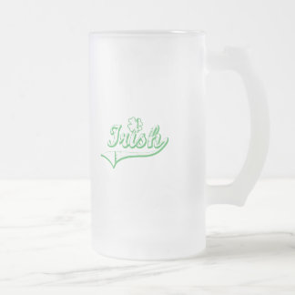 Distressed Irish with Clover 16 Oz Frosted Glass Beer Mug