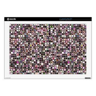 "Distressed Jewel Tones Textured Grid Pattern 17"" Laptop Skins"