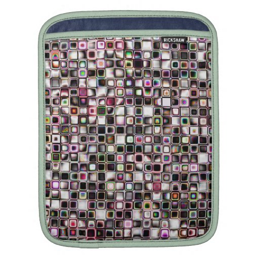 Distressed Jewel Tones Textured Grid Pattern Sleeve For iPads