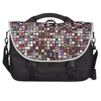 Distressed Jewel Tones Textured Tiles Pattern Laptop Commuter Bag