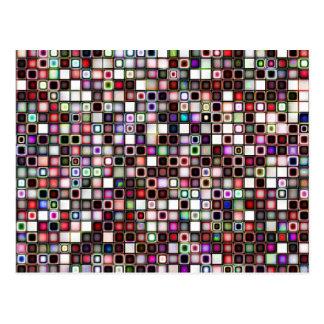 Distressed Jewel Tones Textured Tiles Pattern Postcard