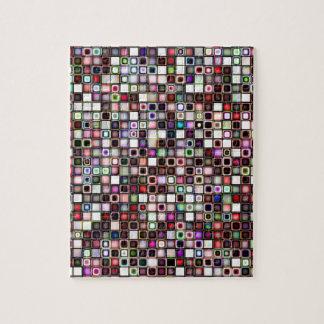 Distressed Jewel Tones Textured Tiles Pattern Jigsaw Puzzles