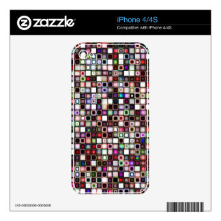 Distressed Jewel Tones Textured Tiles Pattern Decal For iPhone 4S