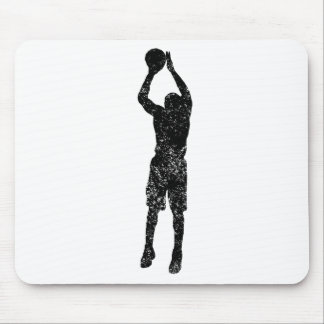 Distressed Jump Shot Silhouette Mousepads