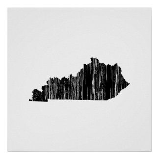 Distressed Kentucky State Outline Poster