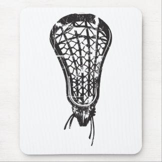 Distressed Lacrosse Stick Black Mouse Pad
