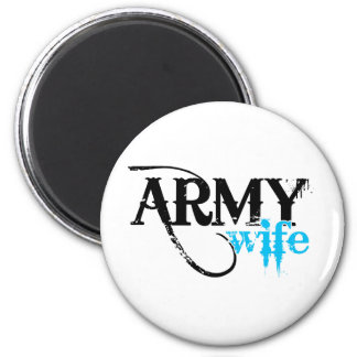 Distressed Lettering Army Wife 2 Inch Round Magnet