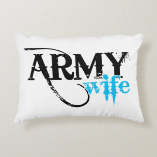 Distressed Lettering Army Wife Accent Pillow