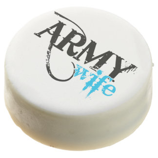 Distressed Lettering Army Wife Chocolate Dipped Oreo