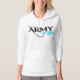 Distressed Lettering Army Wife Hoodie