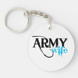 Distressed Lettering Army Wife Keychain