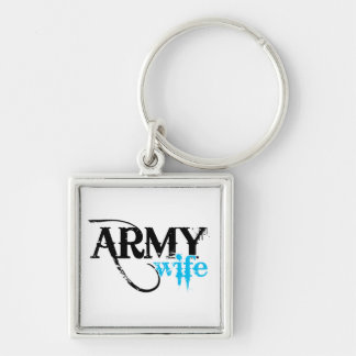 Distressed Lettering Army Wife Silver-Colored Square Keychain