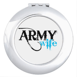 Distressed Lettering Army Wife Makeup Mirror
