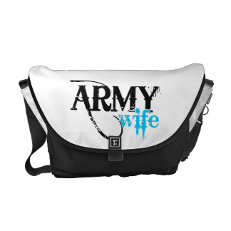 Distressed Lettering Army Wife Messenger Bag