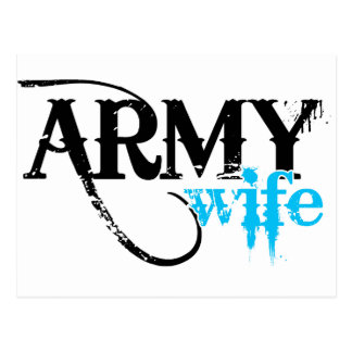 Distressed Lettering Army Wife Postcard