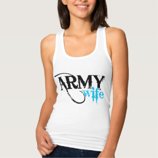 Distressed Lettering Army Wife Shirts