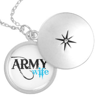 Distressed Lettering Army Wife Silver Plated Necklace
