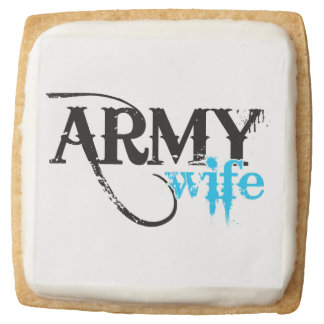 Distressed Lettering Army Wife Square Shortbread Cookie