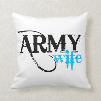 Distressed Lettering Army Wife Throw Pillow