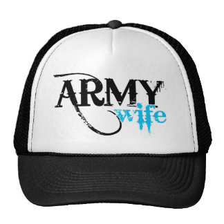 Distressed Lettering Army Wife Trucker Hat