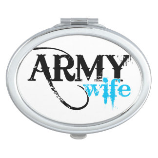 Distressed Lettering Army Wife Vanity Mirror