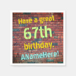 [ Thumbnail: Distressed Look 67th Birthday Paper Napkins ]