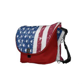 Distressed Look American Flag Bag Messenger Bags