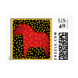 Distressed Look Dala Horse Postage Stamps