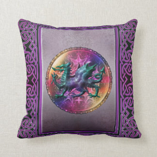 Distressed Look Mystic Celtic Dragon Throw Pillow