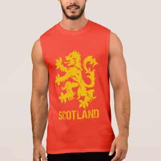 Distressed Look Scotland Lion Rampant Sleeveless T-shirts