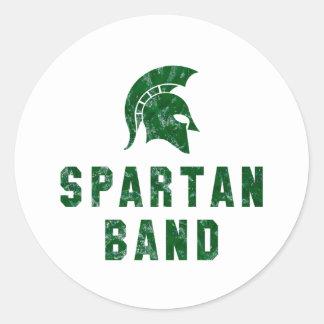 Distressed-Look Spartan Band Logo #1 Classic Round Sticker