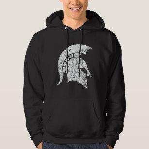 Spartan Warrior Helmet Distressed Look Customized Black Graphic Hoodie Men's Clothing