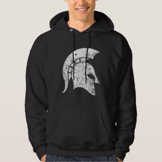 Distressed-Look Spartan Head  (white) Hoodie