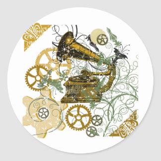 Distressed Look Steampunk Design Classic Round Sticker