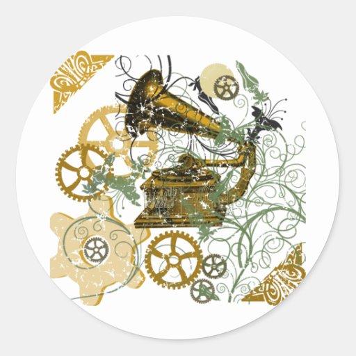 Distressed Look Steampunk Design Round Stickers