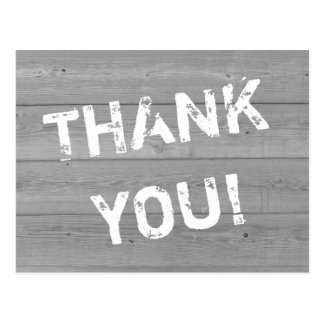 Distressed look wood panel thank you postcards