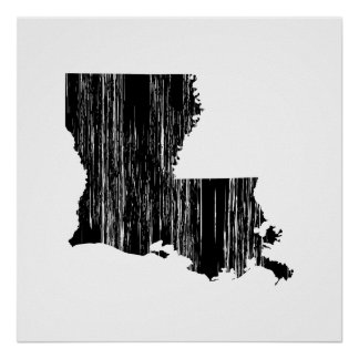 Distressed louisiana State Outline Poster