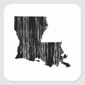 Distressed louisiana State Outline Square Sticker