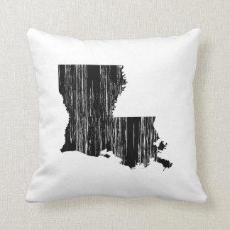 Distressed louisiana State Outline Throw Pillow