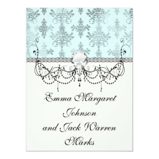 distressed lovely soft blue damask 6.5x8.75 paper invitation card