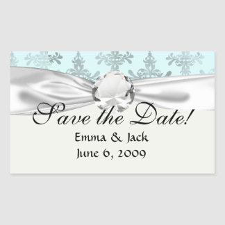 distressed lovely soft blue damask rectangular sticker
